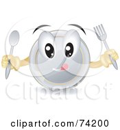 Royalty Free RF Clipart Illustration Of A Hungry Plate Character Holding Silverware by BNP Design Studio