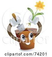 Royalty Free RF Clipart Illustration Of A Pot Character Planting A Daisy Flower