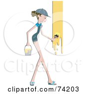 Royalty Free RF Clipart Illustration Of A Pretty Home Maker Painting A Wall Yellow