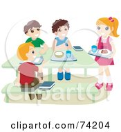 Royalty Free RF Clipart Illustration Of School Children Eating Hot Lunches In A Cafeteria