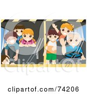 Royalty Free RF Clipart Illustration Of A Friendly School Bus Driver And Students Waving