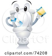 Royalty Free RF Clipart Illustration Of A Toilet Character Pouring In Cleanser by BNP Design Studio