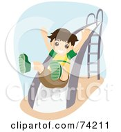 Royalty Free RF Clipart Illustration Of A Happy Boy Going Down A Slide by BNP Design Studio
