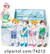 Royalty Free RF Clipart Illustration Of School Children Waiting In Line For Hot Lunches In A Cafeteria