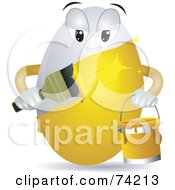 Royalty Free RF Clipart Illustration Of An Egg Character Painting Itself Gold