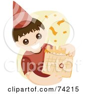 Royalty Free RF Clipart Illustration Of A Little Birthday Boy Wearing A Party Hat And Holding A Calendar by BNP Design Studio