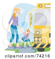 Royalty Free RF Clipart Illustration Of A Proud Mom Walking Her Daughter To A School Bus by BNP Design Studio