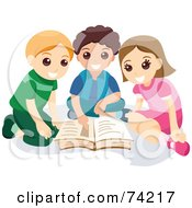 Royalty Free RF Clipart Illustration Of A Little Girl And Two Boys Reading A Book Together