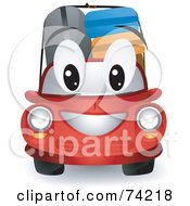Royalty Free RF Clipart Illustration Of A Red Car Character With Luggage by BNP Design Studio