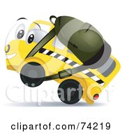 Royalty Free RF Clipart Illustration Of A School Bus Character Wearing A Backpack