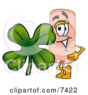 Clipart Picture Of A Bandaid Bandage Mascot Cartoon Character With A Green Four Leaf Clover On St Paddys Or St Patricks Day