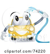Yellow Car Character Washing Itself