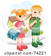 Royalty Free RF Clipart Illustration Of A School Boy And Girl Waiting At A Bus Stop by BNP Design Studio