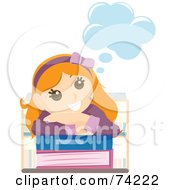 Royalty Free RF Clipart Illustration Of A Happy Girl Day Dreaming And Resting Her Head On School Books