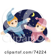 Royalty Free RF Clipart Illustration Of A Happy Boy And Girl Flying In Their Pajamas Against A Starry Sky