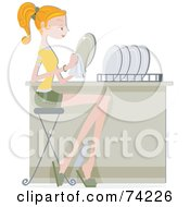 Royalty Free RF Clipart Illustration Of A Pretty Home Maker Drying Her Dishes