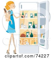 Royalty Free RF Clipart Illustration Of A Pretty Home Maker Putting Groceries In A Fridge