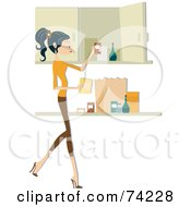 Royalty Free RF Clipart Illustration Of A Pretty Home Maker Putting Away Groceries