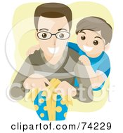 Royalty Free RF Clipart Illustration Of A Little Boy Watching His Dad Open A Present