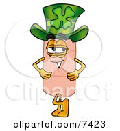 Bandaid Bandage Mascot Cartoon Character Wearing A Saint Patricks Day Hat With A Clover On It