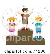Royalty Free RF Clipart Illustration Of A Girl And Two Boys Wearing Medals And Standing On Pedestals