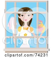 Royalty Free RF Clipart Illustration Of A Pretty Lady Cleaning A Window by BNP Design Studio