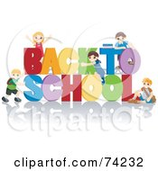 Royalty Free RF Clipart Illustration Of School Children Playing On Back To School Text