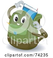 Royalty Free RF Clipart Illustration Of A Backpack Character Inserting A Book by BNP Design Studio