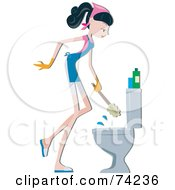 Royalty Free RF Clipart Illustration Of A Home Maker Scrubbing A Toilet