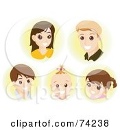 Royalty Free RF Clipart Illustration Of The Faces Of A Mother Father And Their Three Children