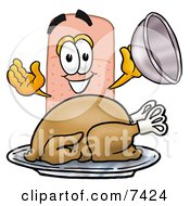 Clipart Picture Of A Bandaid Bandage Mascot Cartoon Character Serving A Thanksgiving Turkey On A Platter by Toons4Biz