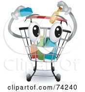 Royalty Free RF Clipart Illustration Of A Shopping Cart Character Inserting Items by BNP Design Studio