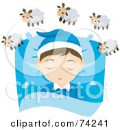 Little Boy Resting His Head On A Pillow And Counting Sheep