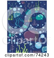 Royalty Free RF Clipart Illustration Of A Digital Collage Of Sea Creature Doodles On Blue by BNP Design Studio