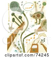 Royalty Free RF Clipart Illustration Of A Digital Collage Of Green And Brown Music Doodles by BNP Design Studio