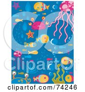 Royalty Free RF Clipart Illustration Of A Digital Collage Of Sea Fish And Bubbles On Blue by BNP Design Studio
