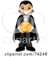 Royalty Free RF Clipart Illustration Of A Little Boy In A Vampire Costume Holding A Lighted Halloween Pumpkin
