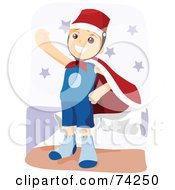 Royalty Free RF Clipart Illustration Of A Little Boy Pretending To Be A Super Hero