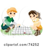 Royalty Free RF Clipart Illustration Of A School Boy And Girl Playing A Board Game by BNP Design Studio