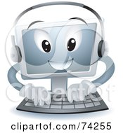 Royalty Free RF Clipart Illustration Of A Computer Character Typing And Wearing A Headset by BNP Design Studio