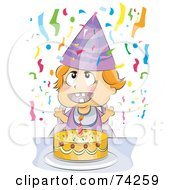 Royalty Free RF Clipart Illustration Of A Happy Baby With A Birthday Cake