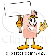 Clipart Picture Of A Bandaid Bandage Mascot Cartoon Character Holding A Blank Sign by Toons4Biz