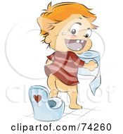 Royalty Free RF Clipart Illustration Of A Happy Baby Holding Toilet Paper By A Training Seat by BNP Design Studio