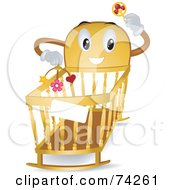 Royalty Free RF Clipart Illustration Of A Baby Crib Character Holding A Rattle And Mobile by BNP Design Studio