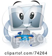 Royalty Free RF Clipart Illustration Of A Computer Character Playing Video Games