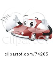 Royalty Free RF Clipart Illustration Of A Red Car Character Holding A Mechanic Bill