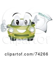 Royalty Free RF Clipart Illustration Of A Green Car Character Holding An Insurance Form