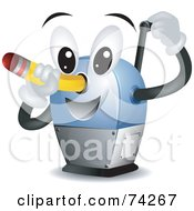 Royalty Free RF Clipart Illustration Of A Pencil Sharpener Character Sharpening A Pencil by BNP Design Studio