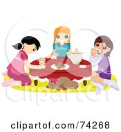 Royalty Free RF Clipart Illustration Of A Cat Napping While Girls Hold A Tea Party by BNP Design Studio
