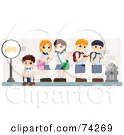 Royalty Free RF Clipart Illustration Of School Kids Standing And Sitting At A Bus Stop
